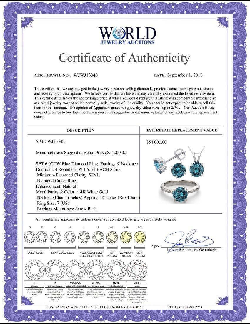 14K White Gold SET 6.0CTW Blue Diamond Ring, Earrings, - 2