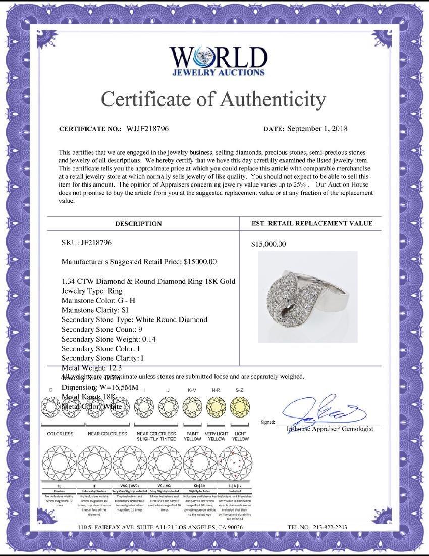 1.34 CTW Diamond Ring 18K White Gold - REF-196R8K - 2