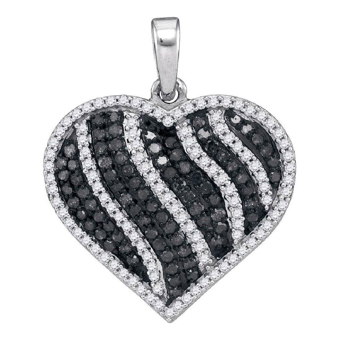 1.5 CTW Black Color Diamond Heart Love Pendant 10KT
