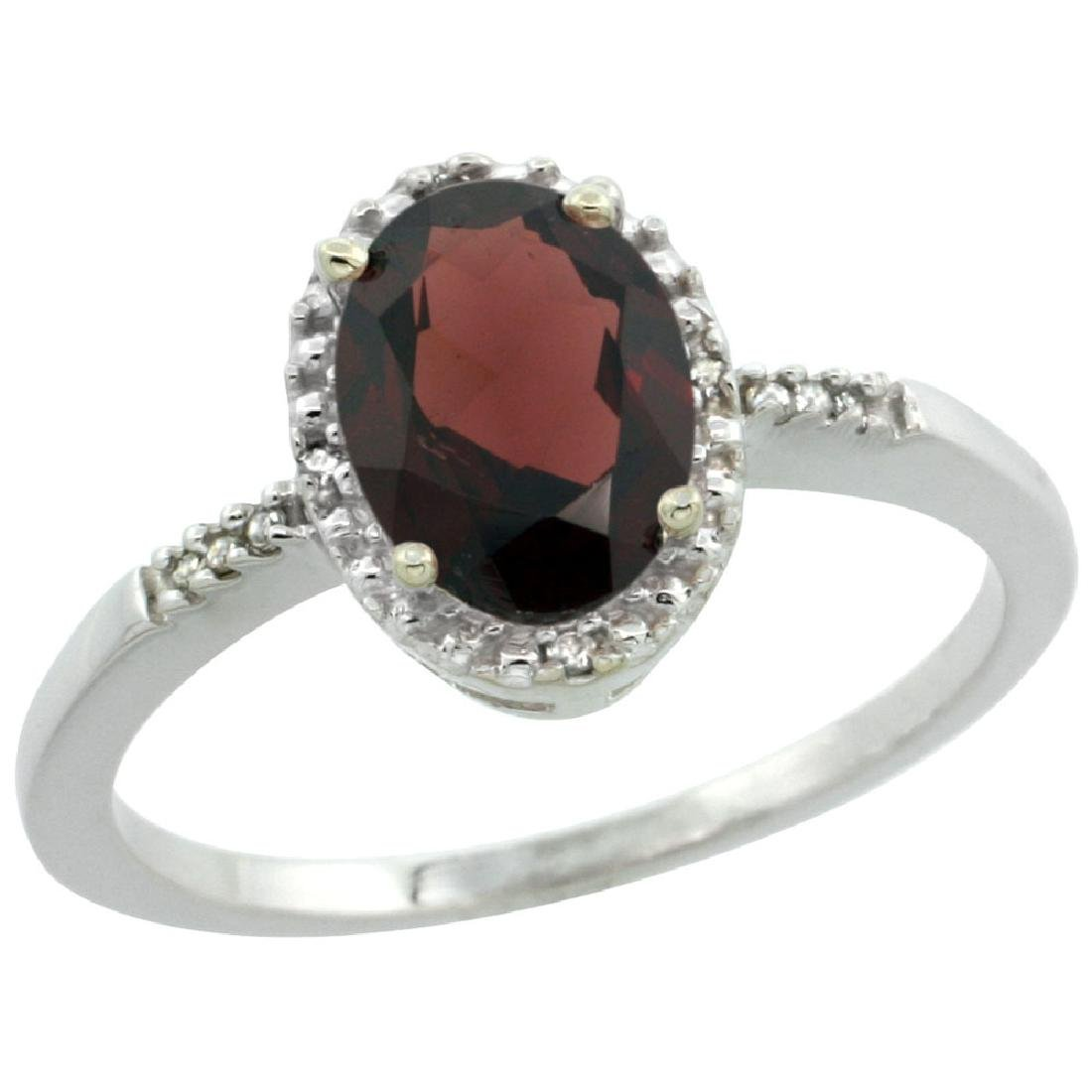 Natural 1.2 ctw Garnet & Diamond Engagement Ring 10K