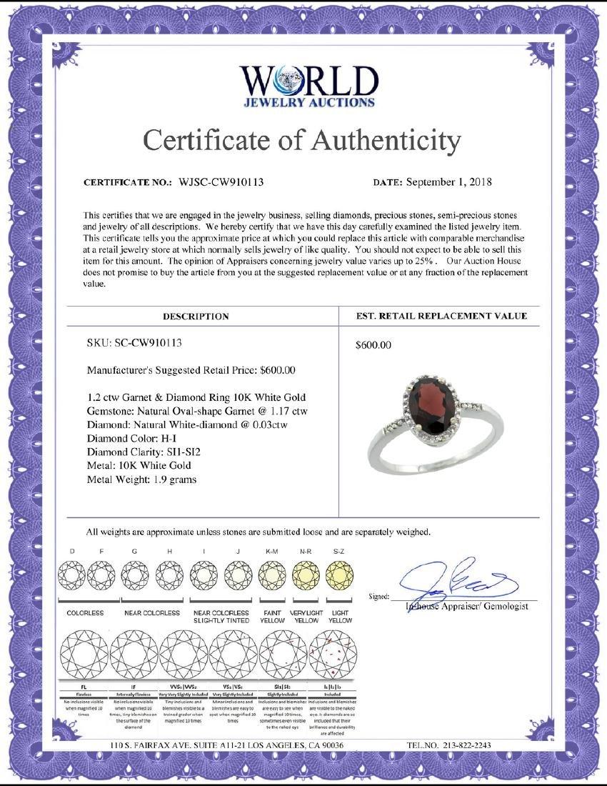 Natural 1.2 ctw Garnet & Diamond Engagement Ring 10K - 2