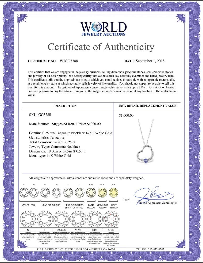 Genuine 0.25 ctw Tanzanite Necklace Jewelry 14KT White - 2