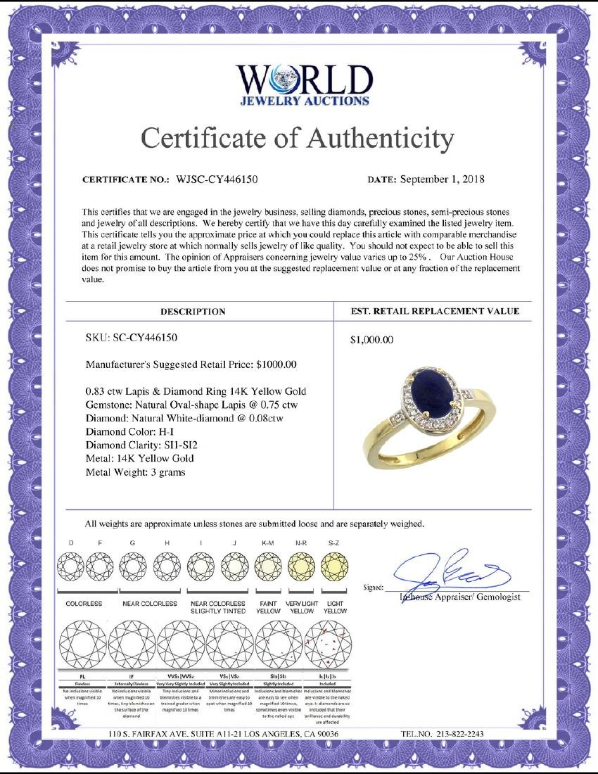 Natural 0.83 ctw Lapis & Diamond Engagement Ring 14K - 2