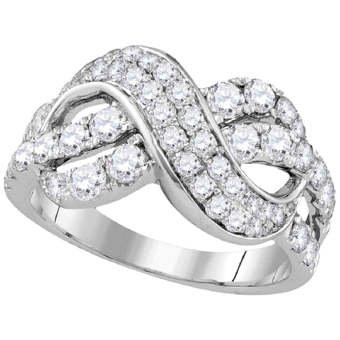 1.51 CTW Pave-set Diamond Infinity Crossover Ring 14KT