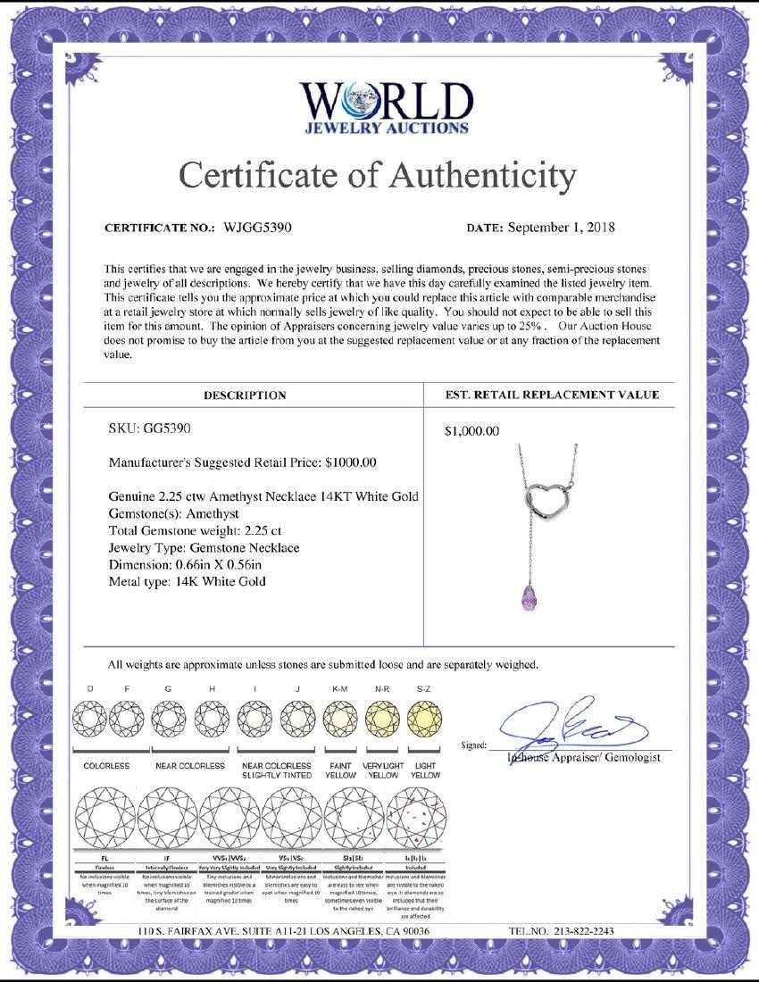 Genuine 2.25 ctw Amethyst Necklace Jewelry 14KT White - 2