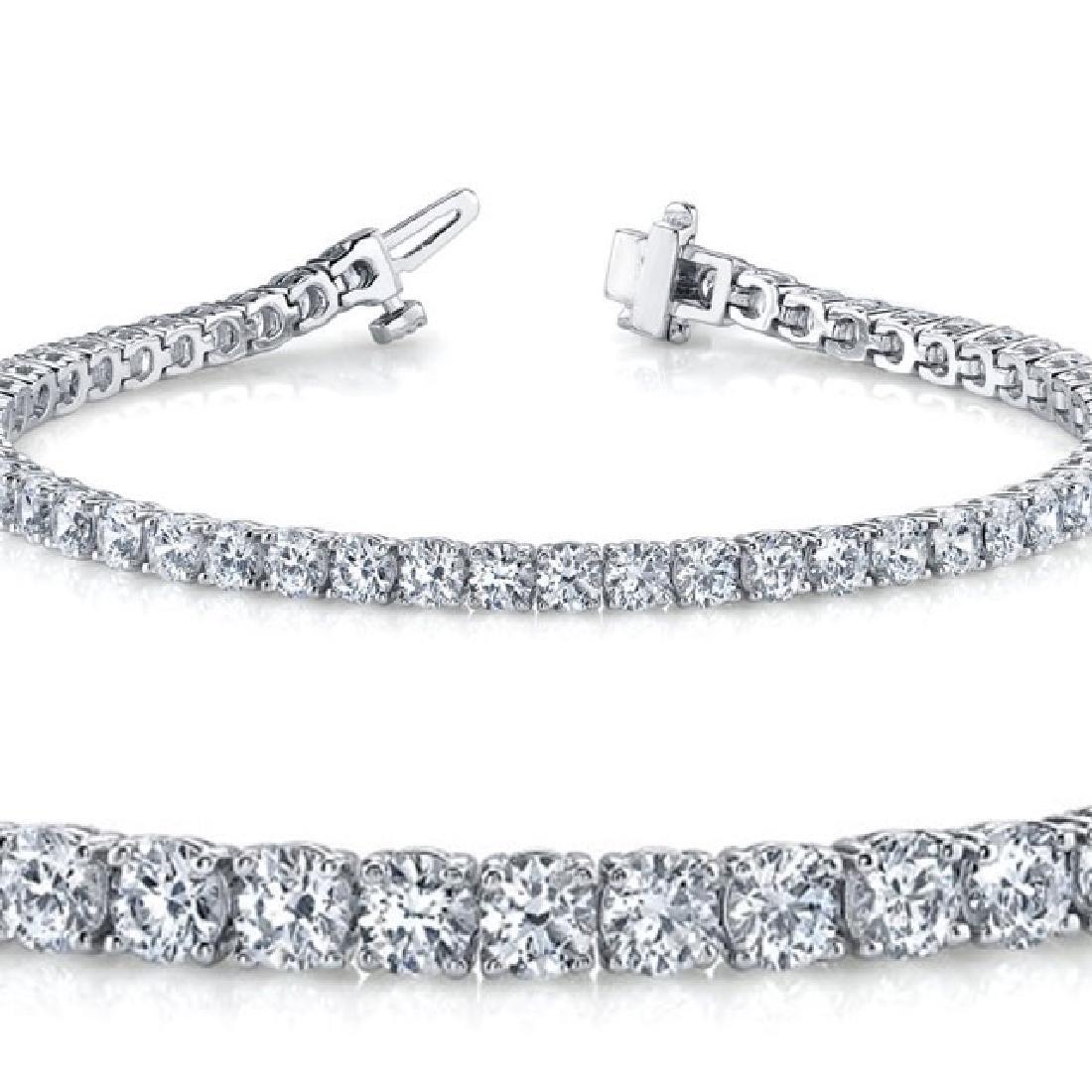 Natural 4.01ct VS-SI Diamond Tennis Bracelet 18K White