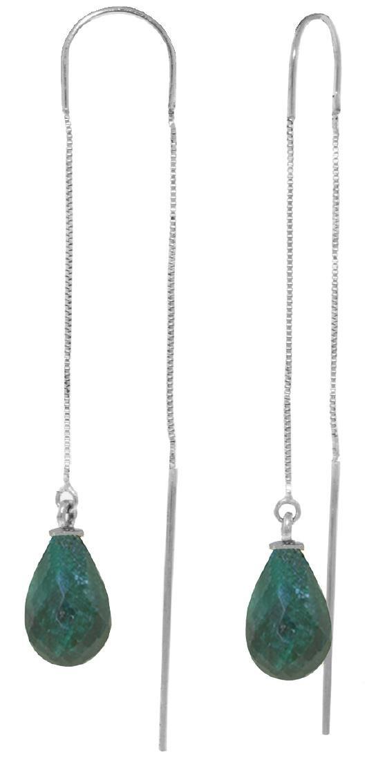 Genuine 6.6 ctw Green Sapphire Corundum Earrings