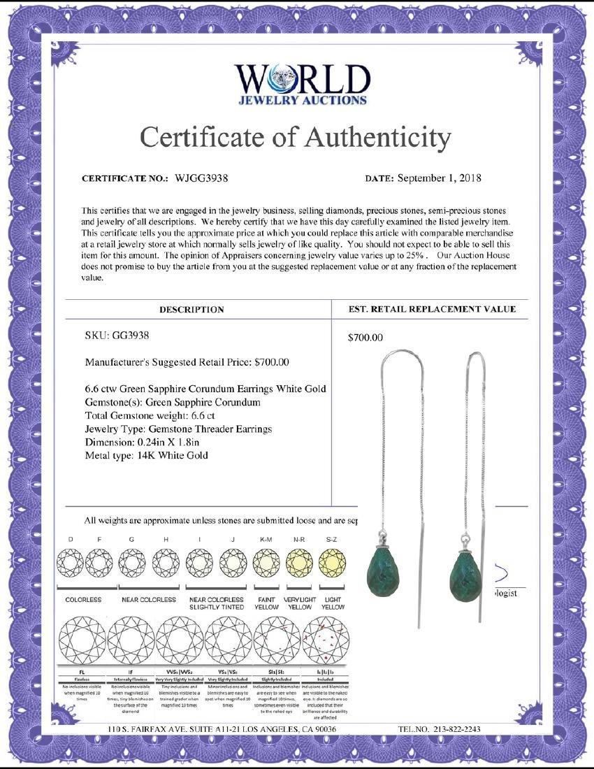 Genuine 6.6 ctw Green Sapphire Corundum Earrings - 2