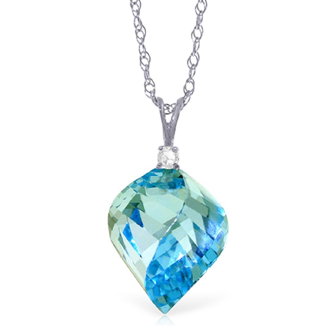 Genuine 13.95 ctw Blue Topaz & Diamond Necklace Jewelry