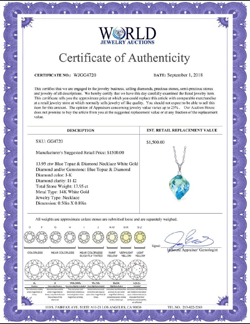 Genuine 13.95 ctw Blue Topaz & Diamond Necklace Jewelry - 2