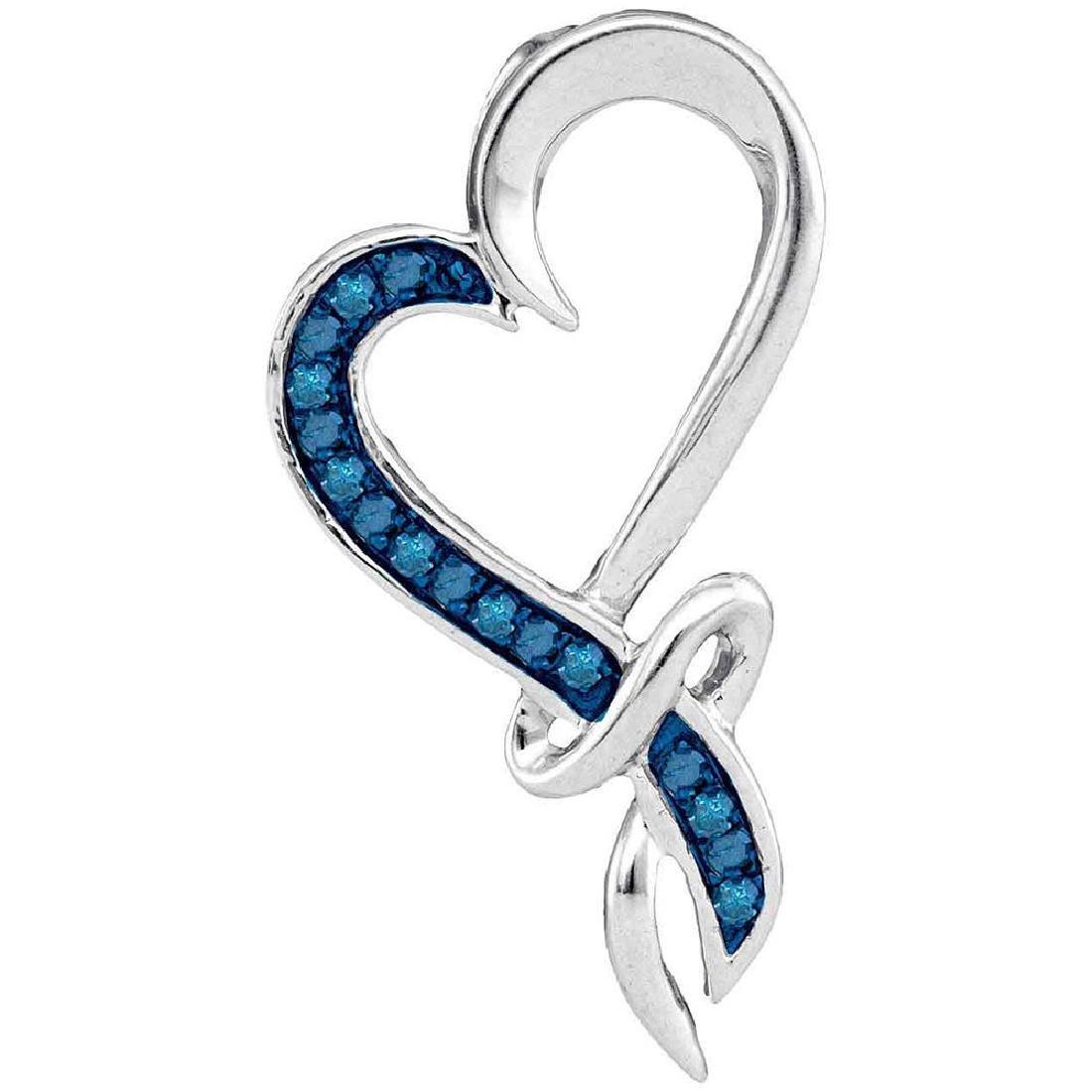 0.10 CTW Blue Color Diamond Heart Pendant 10KT White