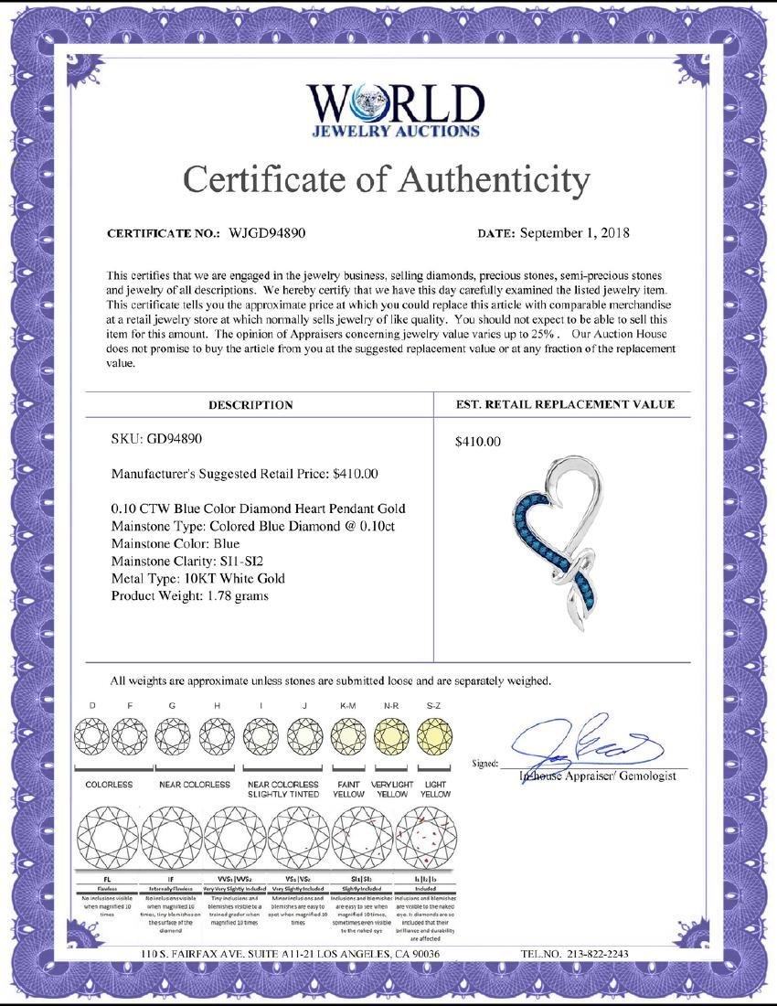 0.10 CTW Blue Color Diamond Heart Pendant 10KT White - 2