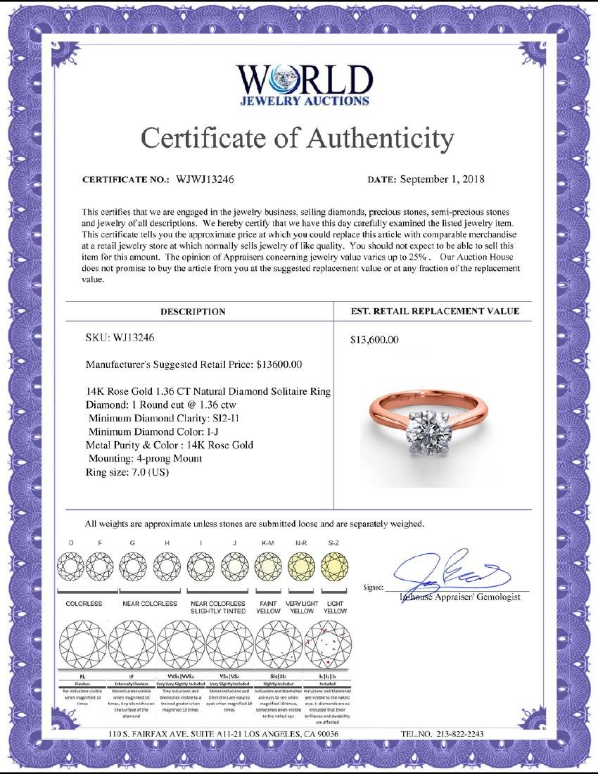 14K Rose Gold 1.36 ctw Natural Diamond Solitaire Ring - - 2