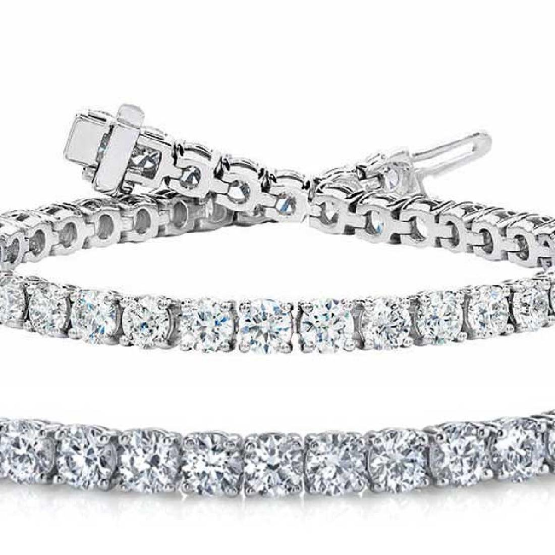 Natural 10.04ct VS-SI Diamond Tennis Bracelet 14K White