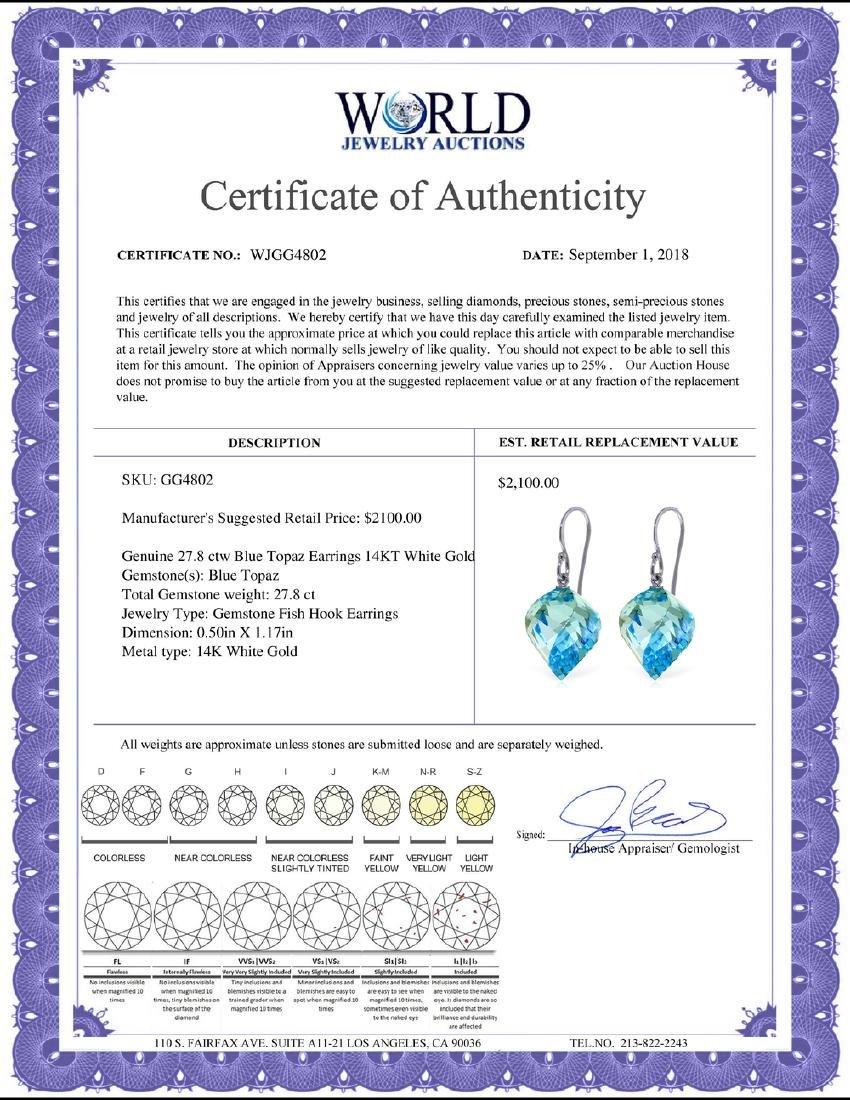 Genuine 27.8 ctw Blue Topaz Earrings Jewelry 14KT White - 2