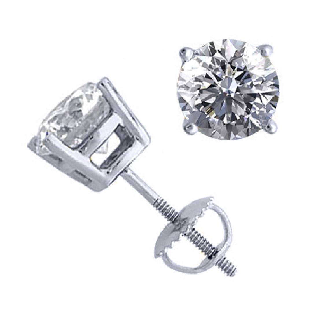 14K White Gold 2.06 ctw Natural Diamond Stud Earrings -