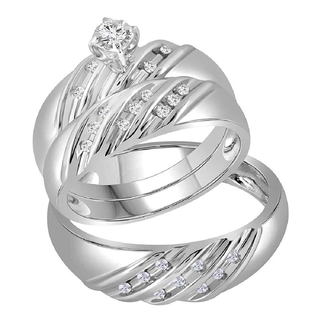0.25 CTW His & Hers Diamond Matching Bridal Ring 14KT