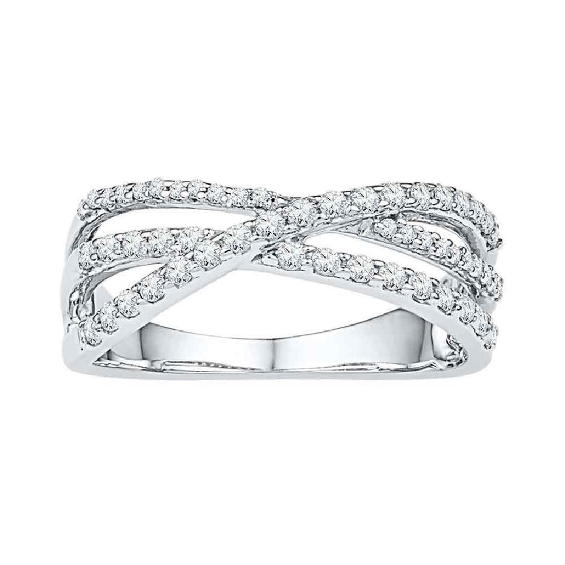 0.50 CTW Diamond Triple Strand Crossover Ring 10KT