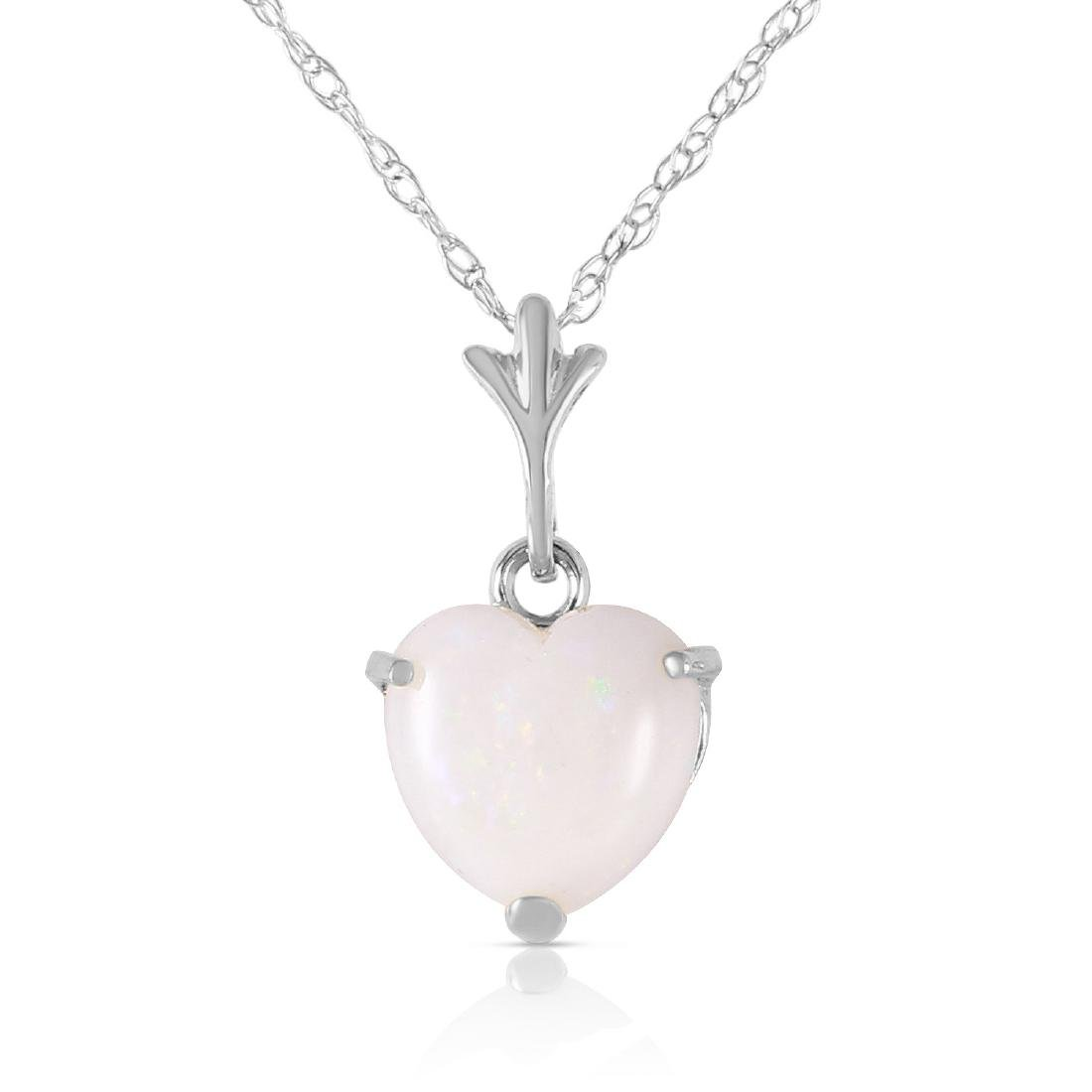 Genuine 0.65 ctw Opal Necklace Jewelry 14KT White Gold