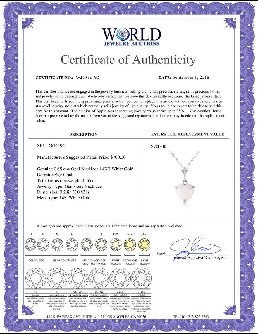 Genuine 0.65 ctw Opal Necklace Jewelry 14KT White Gold - 2