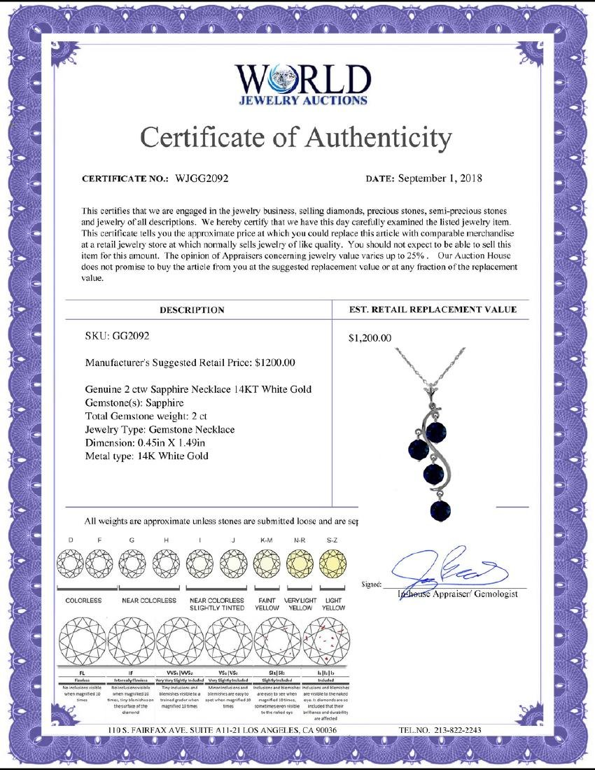Genuine 2 ctw Sapphire Necklace Jewelry 14KT Rose Gold - 2