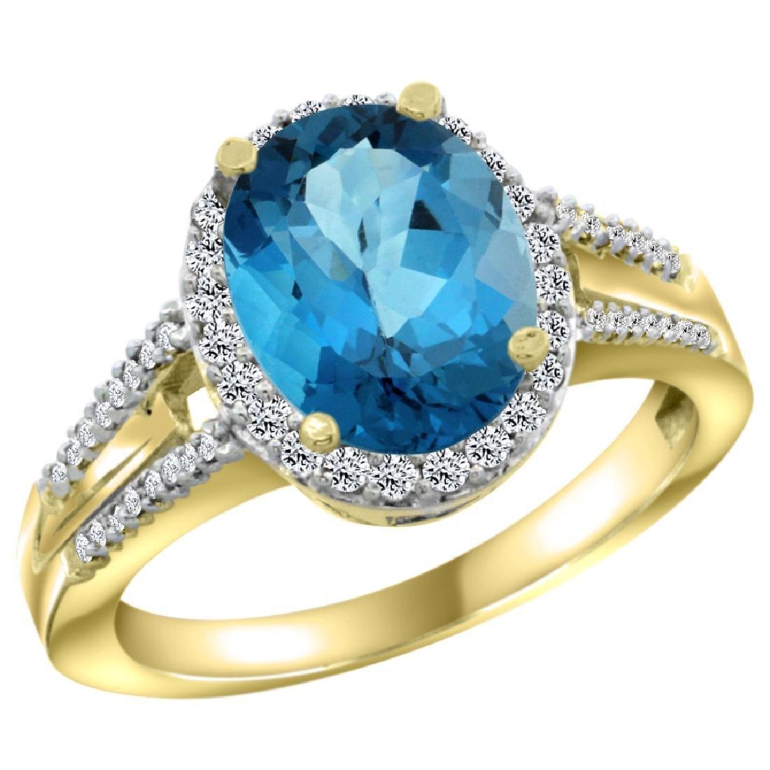 Natural 2.72 ctw london-blue-topaz & Diamond Engagement