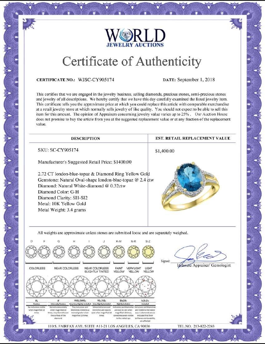 Natural 2.72 ctw london-blue-topaz & Diamond Engagement - 2