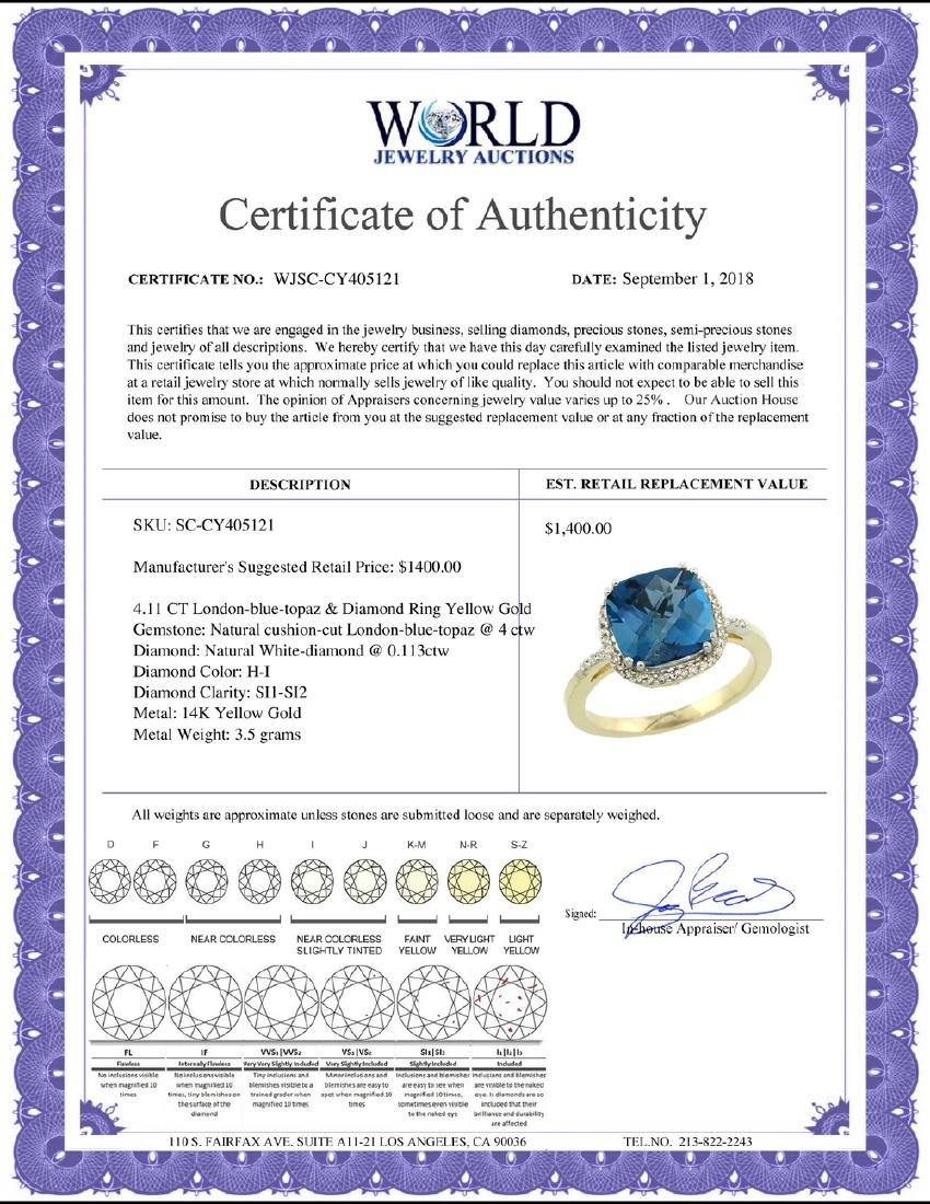 Natural 4.11 ctw London-blue-topaz & Diamond Engagement - 2