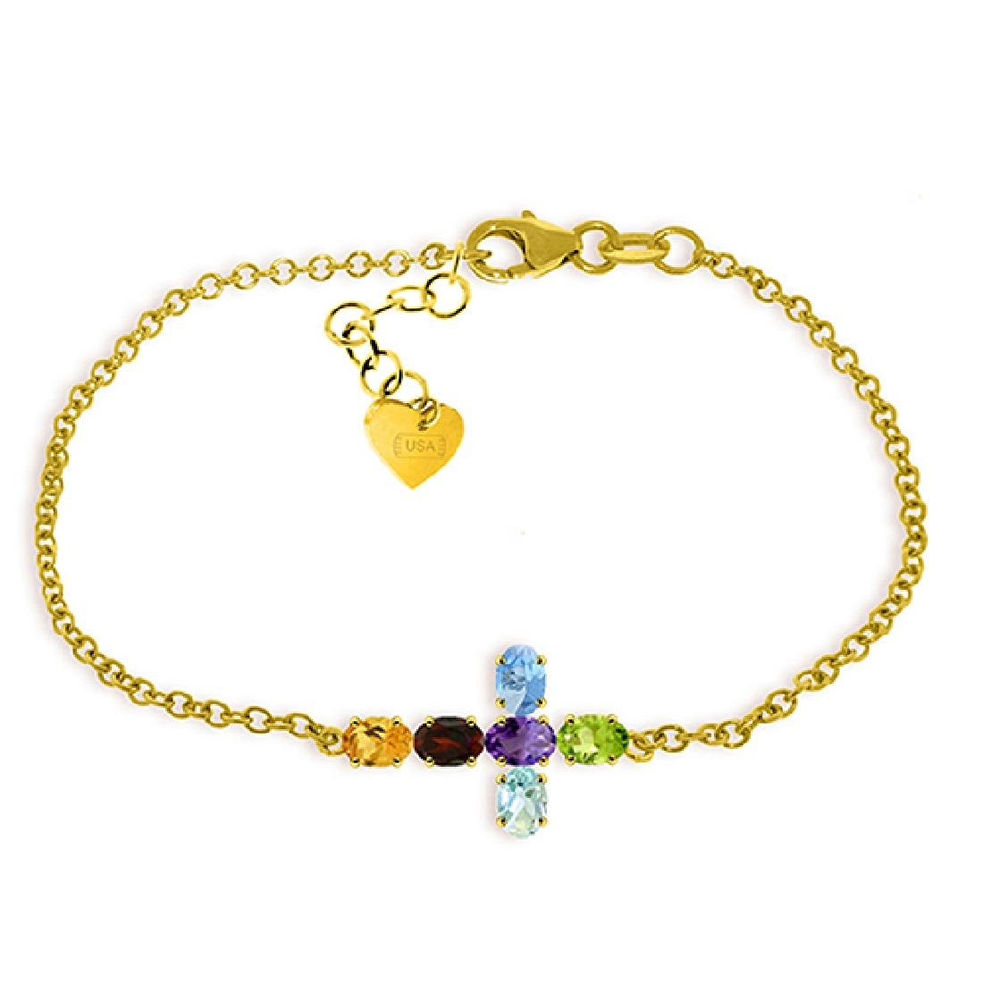 Genuine 1.68 ctw Multi-gemstones Bracelet Jewelry 14KT