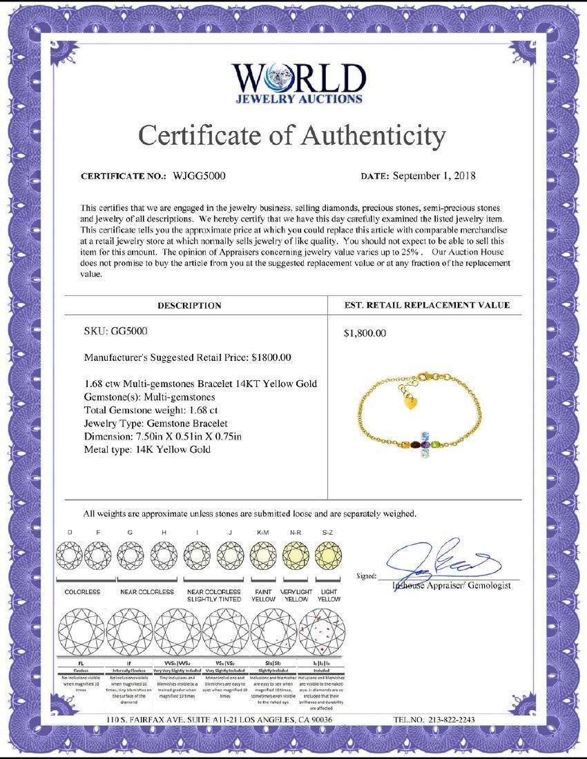 Genuine 1.68 ctw Multi-gemstones Bracelet Jewelry 14KT - 2