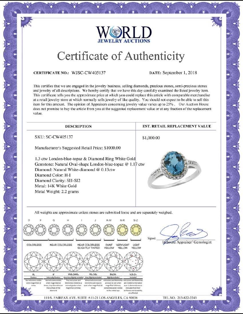Natural 1.3 ctw London-blue-topaz & Diamond Engagement - 2