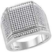 0.95 CTW Mens Diamond Edged Square Cluster Ring 10KT
