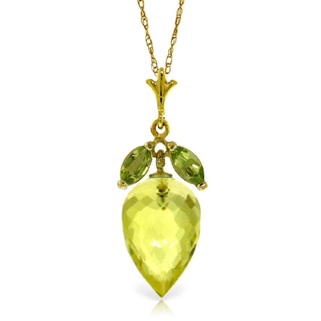 Genuine 9.5 ctw Quartz Lemon & Peridot Necklace Jewelry