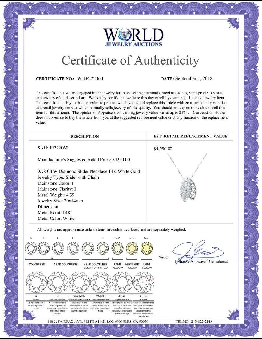 0.78 CTW Diamond Necklace 14K White Gold - REF-55Y2X - 2