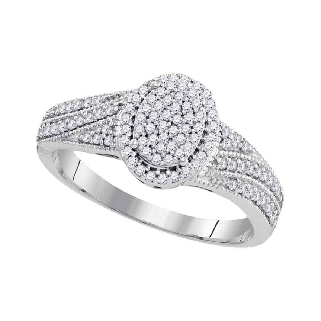 0.33 CTW Diamond Oval Cluster Bridal Engagement Ring