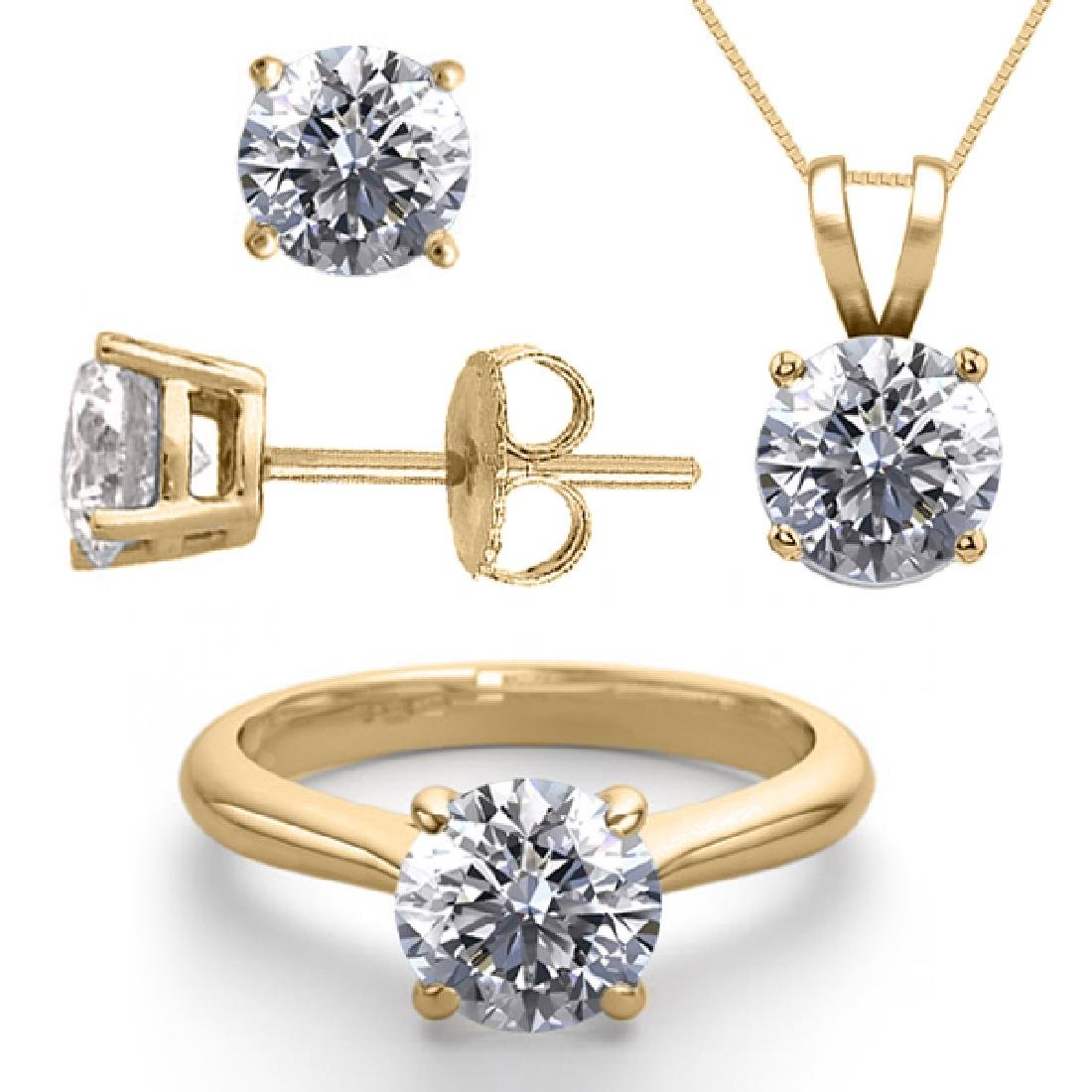 14K Yellow Gold SET 3.0CTW Natural Diamond Ring,