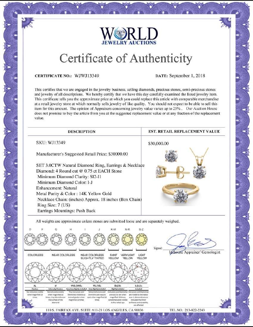 14K Yellow Gold SET 3.0CTW Natural Diamond Ring, - 2