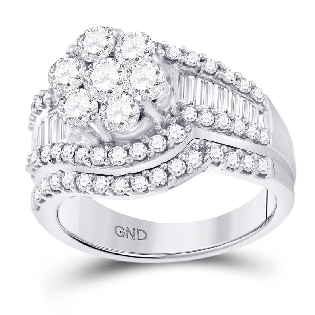 2 CTW Diamond Cluster Bridal Engagement Ring 14KT White
