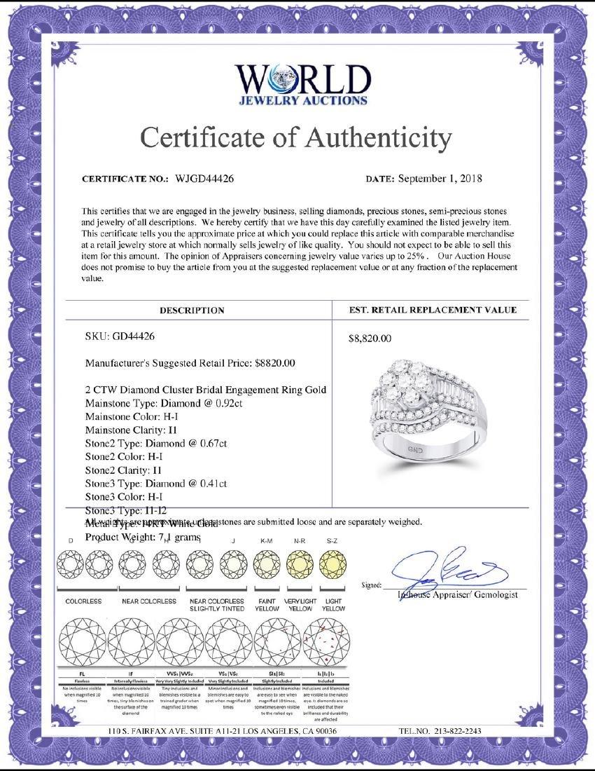 2 CTW Diamond Cluster Bridal Engagement Ring 14KT White - 2