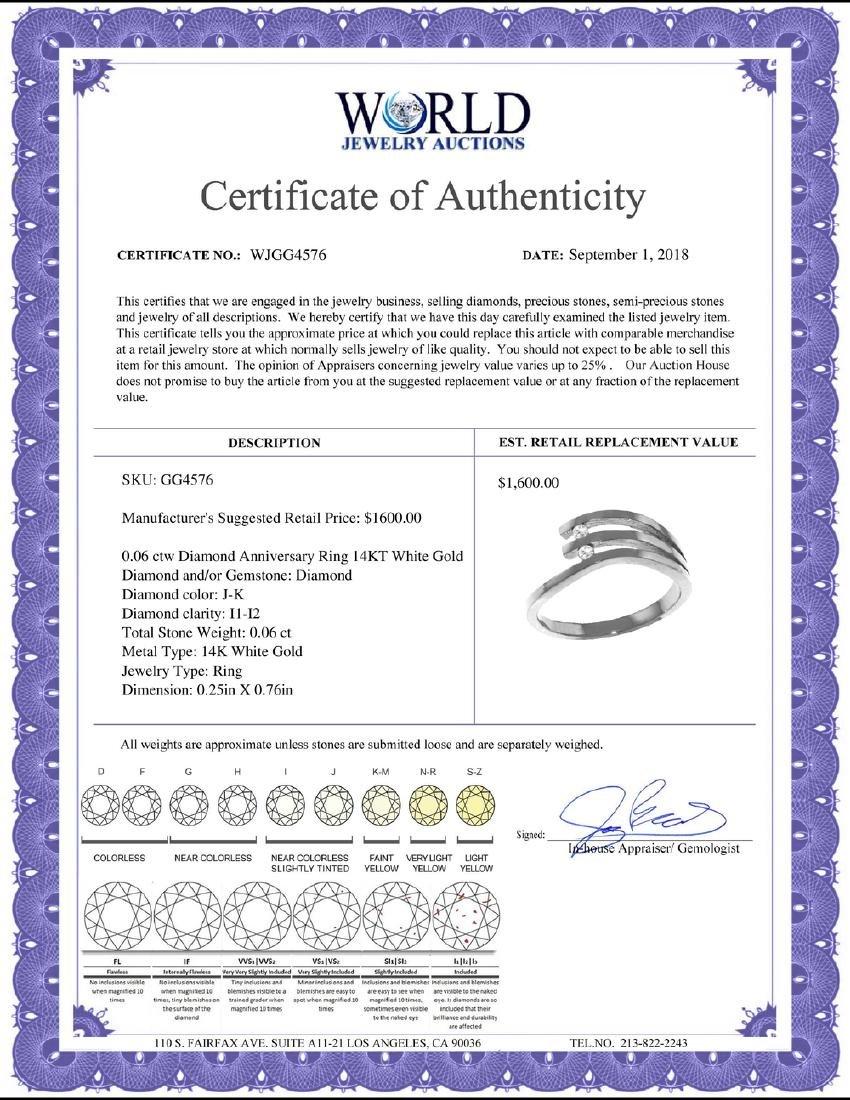 Genuine 0.06 ctw Diamond Anniversary Ring Jewelry 14KT - 2