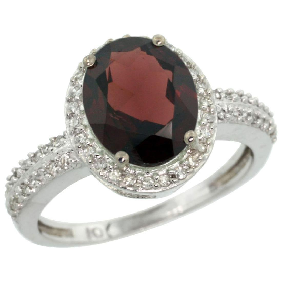Natural 2.56 ctw Garnet & Diamond Engagement Ring 10K