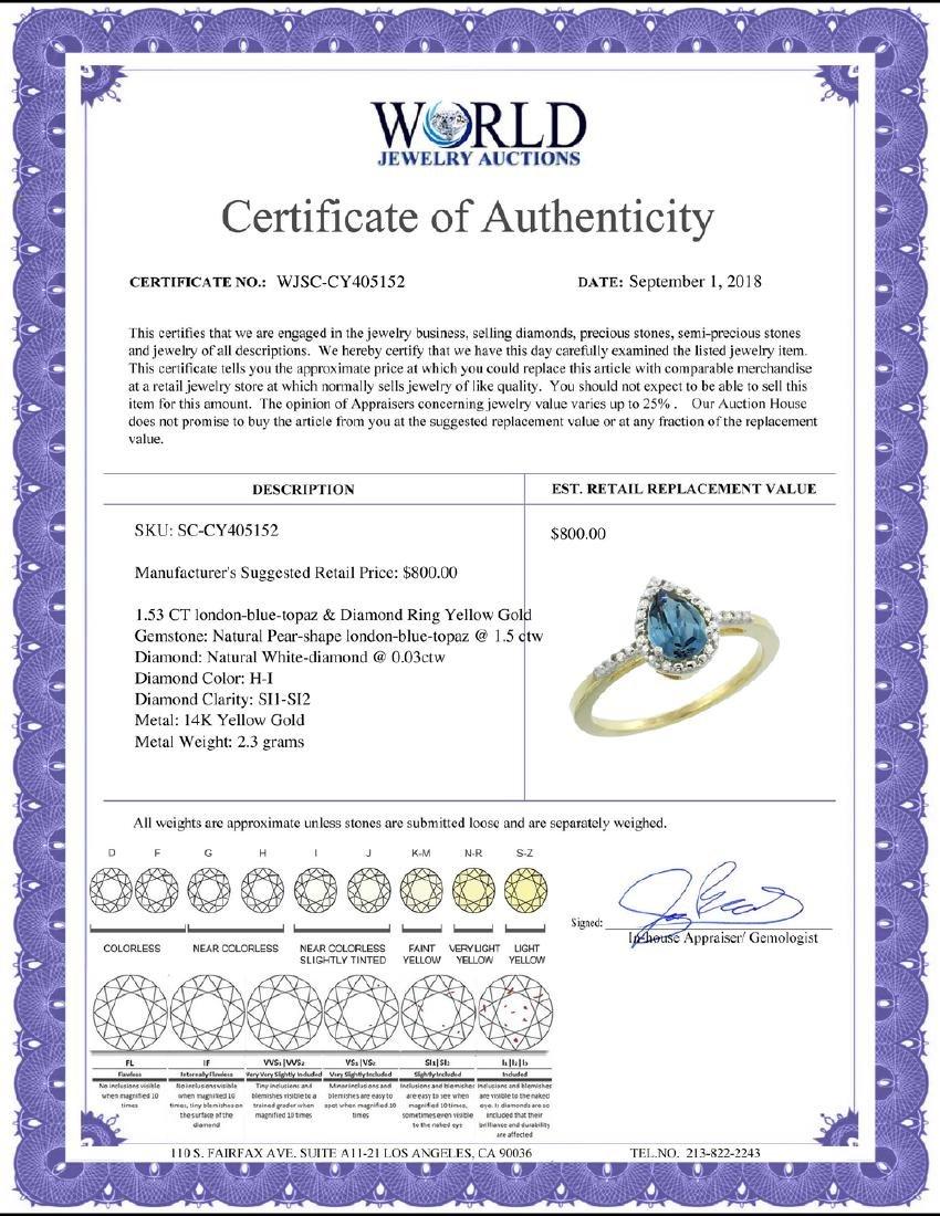 Natural 1.53 ctw london-blue-topaz & Diamond Engagement - 2