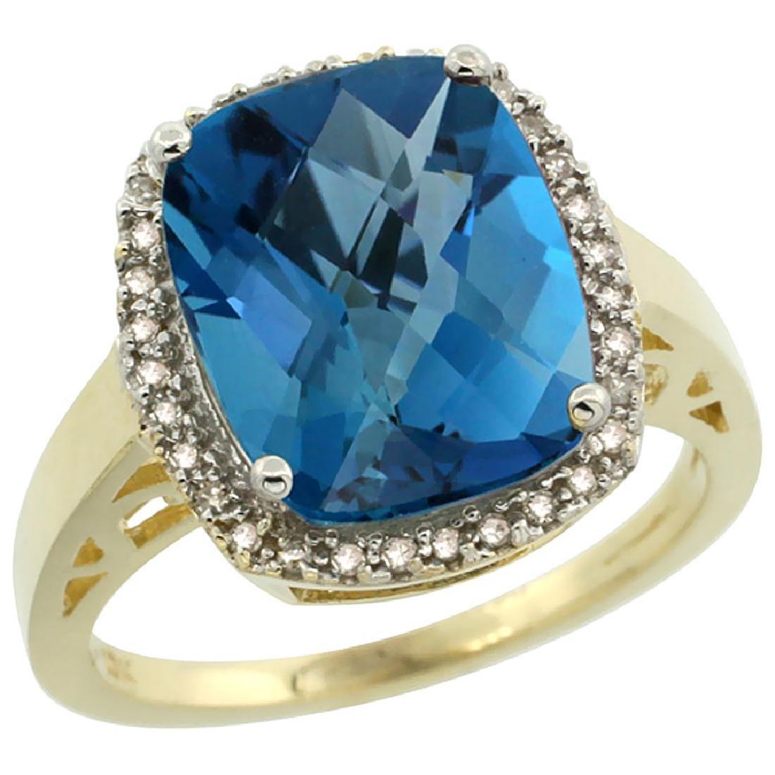 Natural 5.28 ctw London-blue-topaz & Diamond Engagement