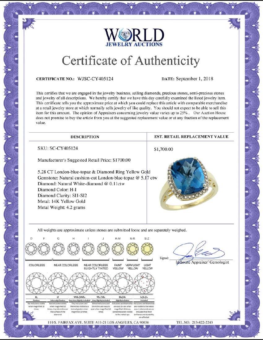 Natural 5.28 ctw London-blue-topaz & Diamond Engagement - 2