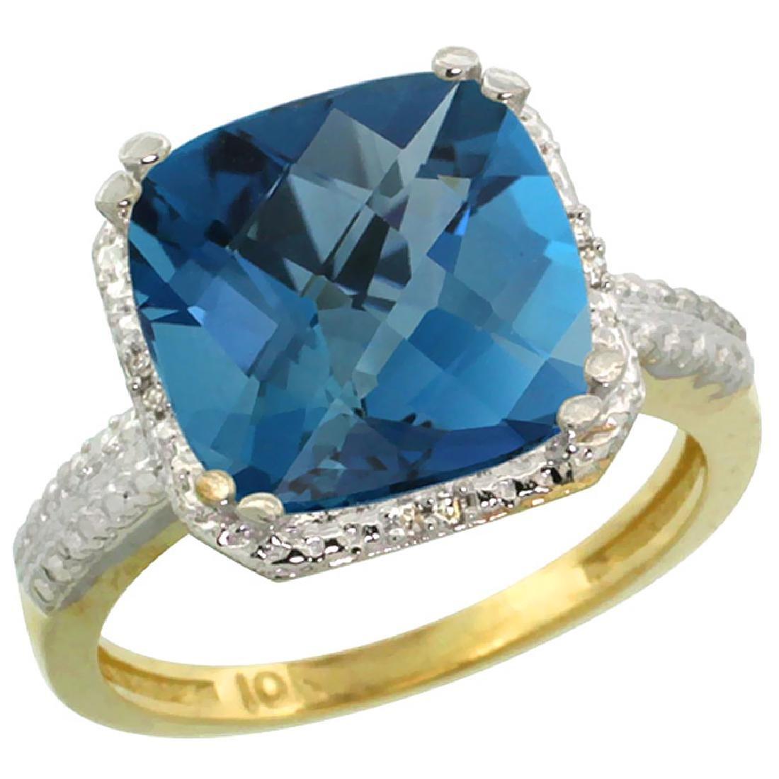 Natural 5.96 ctw London-blue-topaz & Diamond Engagement