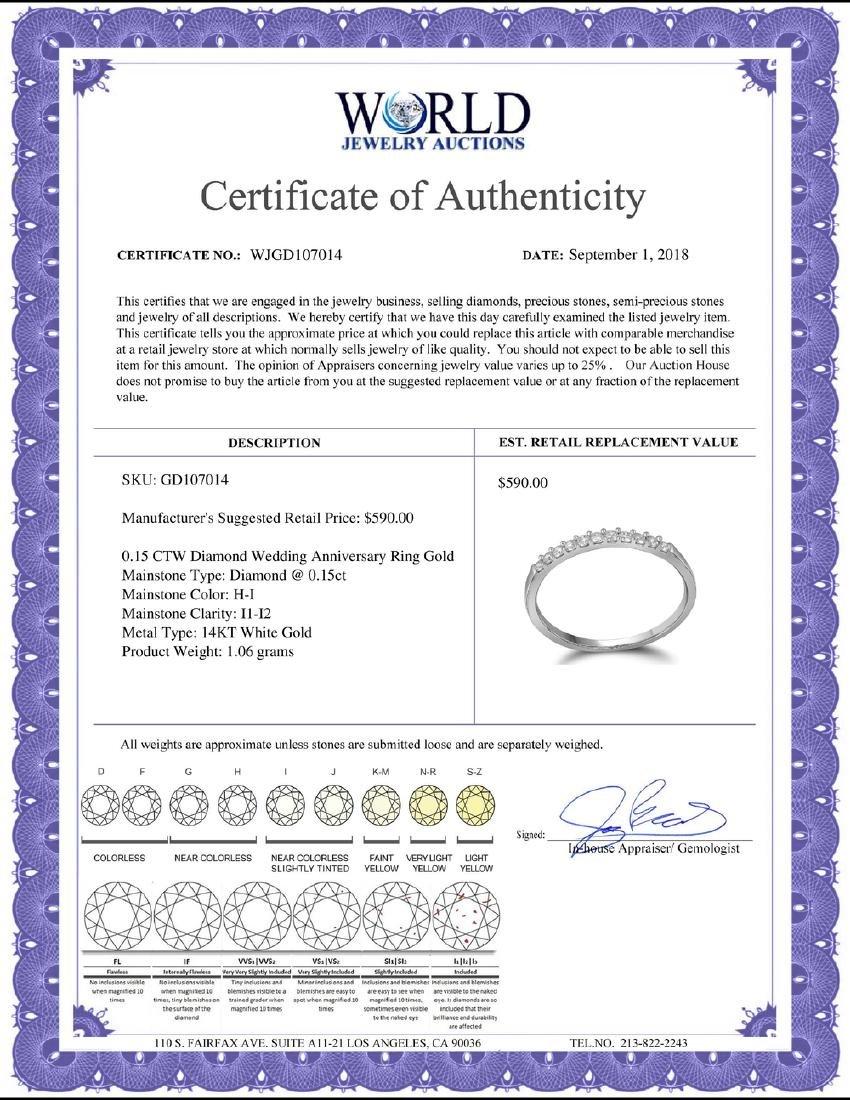 0.15 CTW Diamond Wedding Anniversary Ring 14KT White - 2