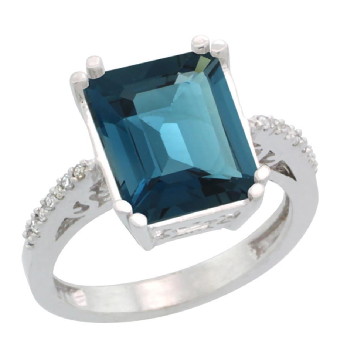 Natural 5.48 ctw London-blue-topaz & Diamond Engagement