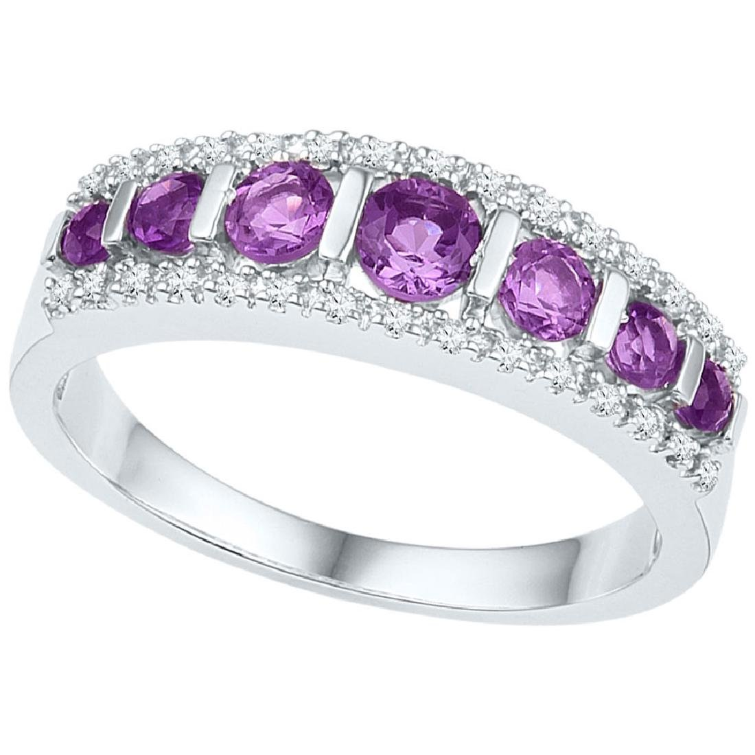 0.73 CTW Created Amethyst Ring 10KT White Gold -