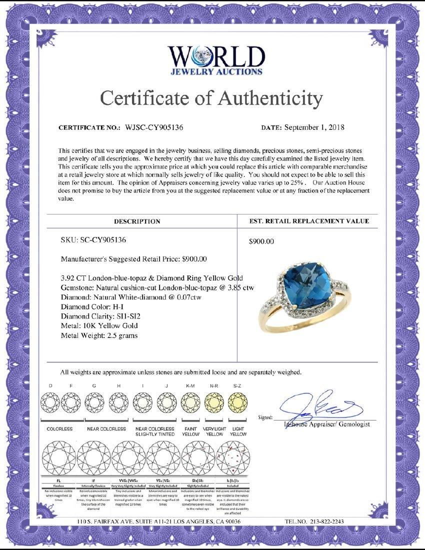 Natural 3.92 ctw London-blue-topaz & Diamond Engagement - 2