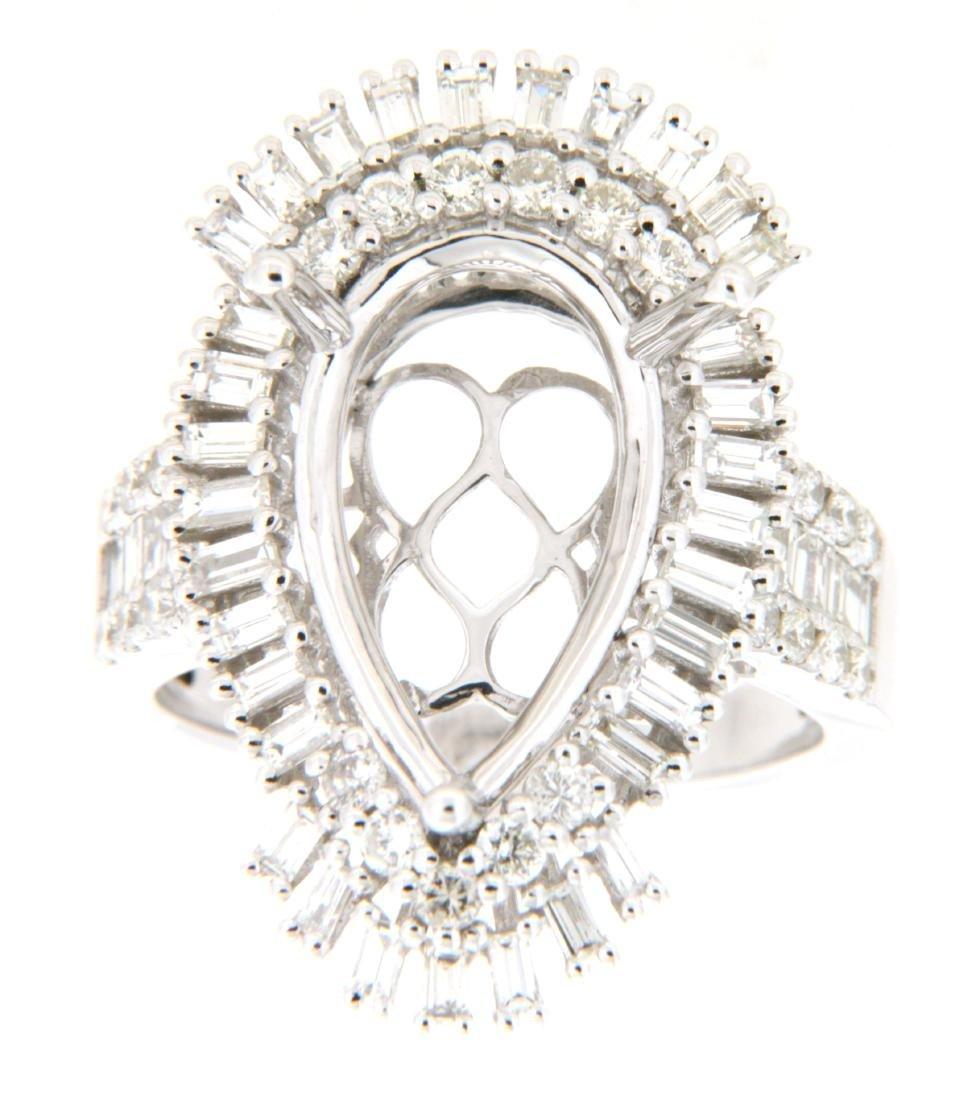 1.66 CTW Diamond Semi Mount Ring 14K White Gold -